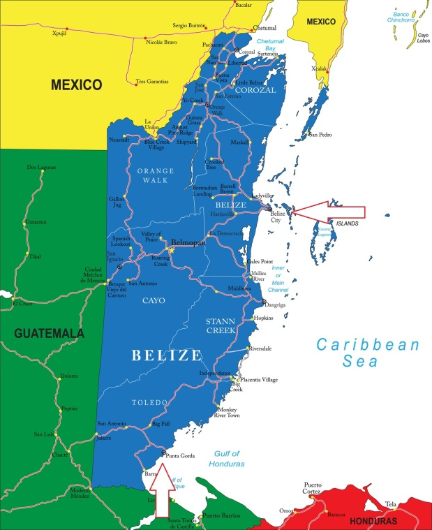 Belize City is at the top of the map (arrow at top) and Punta Gorda is in the south (arrow at bottom of map)