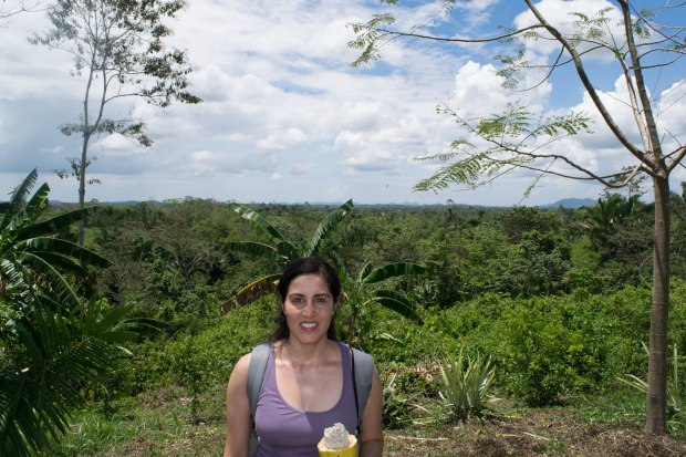 [The top of Eladio's farm provides breathtaking views.  Yes, my head is sprouting leaves, and I'm just a teensy bit sweaty from the hour-long hiking up and down hills!]